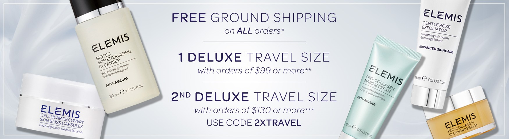 Free Shipping on All Orders + Receive a Double Deluxe Travel Size on $130+ SHOP NOW